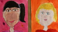 A number of classes are studying portraiture using a variety of styles. Come and check out some of our amazing artwork on display!